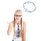 Girl with a speech bubble — Stock Photo