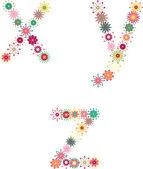 Alfabetu angielskiego z listów, kwiat — Wektor stockowy