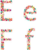 English alphabet from flower letters — Stock Vector