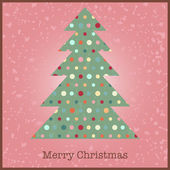 Vintage card with Christmas tree — Vector de stock