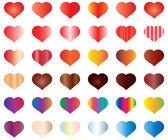 Conjunto de corazones de colores — Vector de stock