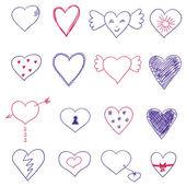 Conjunto de corações de vetor — Vetor de Stock
