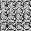 Black and white floral pattern — Stockvectorbeeld
