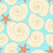 Seashells and star fishes pattern — Stock Vector