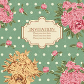 Invitation card with peony — Stock Vector