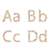 διάνυσμα ζωηρόχρωμο λουλούδι γραμματοσειρά. — Διανυσματικό Αρχείο