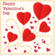 Stock Vector: Red hearts Valentines day card