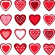 Set of 16 cute hearts — Stock Vector