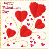Red hearts Valentines day card — Vetor de Stock