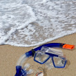Stock Photo: Diving mask and snorkel on the shore