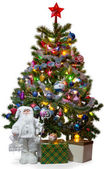 Chrismas tree with Santa and gifts — Stock Photo