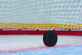 Hockey in front of goal net — Stock Photo