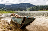 Old siberian boat — Stock Photo