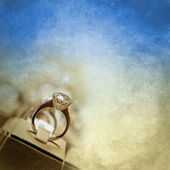 Diamond Ring on Vintage Paper — Stock Photo