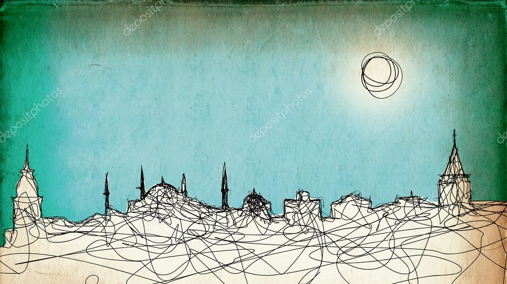 Sketchy drawing of the Istanbul silhouette on grunge paper background — Stock Photo #13170743