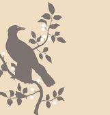 Raven on branch — Stock Vector