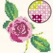 Cross stitch rose embroidery - Stock Photo