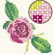 Cross Stitch Rose Embroidery — Stock Vector