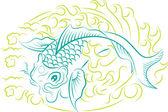 Koi ryby ornament — Stock vektor