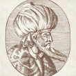 Engraved portrait of Sultan Orhan Gazi - Stock Photo