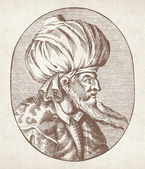 Engraved portrait of Sultan Orhan Gazi — Stock Photo