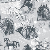 Horses Seamless Pattern — Stock Vector