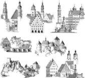 Paysages urbains médiévales — Vecteur