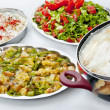 Traditional Turkish homemade food- rice, salad, fried vegs — Stock Photo #22790224