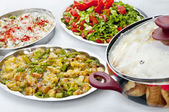Traditional Turkish homemade food- rice, salad, fried vegs — Stock Photo