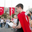 Silent Portesters in Istanbul, Gezi Park Protests - Turkey — Stock Photo