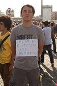 Protesto de homem em pé em istambul — Fotografia Stock