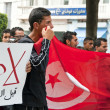 Tunisian people protesting at the Bouguiba Street, Tunis - TUNISIA — Stock Photo #28534221