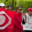 Tunisian people protesting at the Bouguiba Street, Tunis - TUNISIA — Stock Photo #28534281