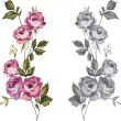 Decorative roses — Vettoriali Stock