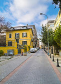 ISTANBUL - MARCH 20, 2014 : View from a neat street in Moda, Kadikoy. Moda is one of the most liveable neighborhoods of Istanbul. Taken on March 20, Istanbul, Turkey — Stock Photo
