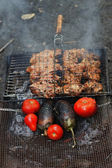 Grilled chicken with a tomato and eggplant — Stock Photo