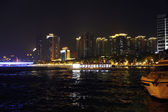 Ship moving by Pearl river in the night — Стоковое фото