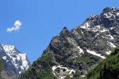 Snowy góry kaukazu i zielonych lasów — Zdjęcie stockowe