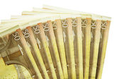 Stack of fifty euro banknotes isolated on the white background — Stockfoto