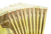 Pilha de notas de cinquenta euros isoladas no fundo branco — Foto Stock