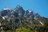 Caucasus mountains under snow and clear blue sky — Stock Photo