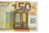 One of fifty euro banknote isolated on the white background — Stock Photo