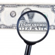 Stock Photo: Loupe zooms banknote