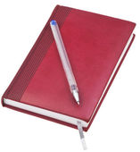 Leather note book with old blue pen — Stock Photo