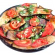 Stock Photo: Fried eggplants with red tomato and garlic