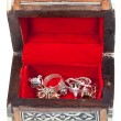 Open small red treasure box — Stock Photo