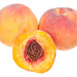 Three fresh peaches - Stock Photo