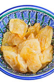 Dried pears in traditional asian bowl — Stock Photo