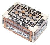 Pequeno cofre de madeira marchetado indiano — Foto Stock