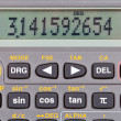 Display of scientific calculator with mathematical functions - Stock Photo